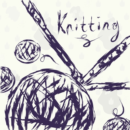 Knitting grunge background with ball Ilustrace