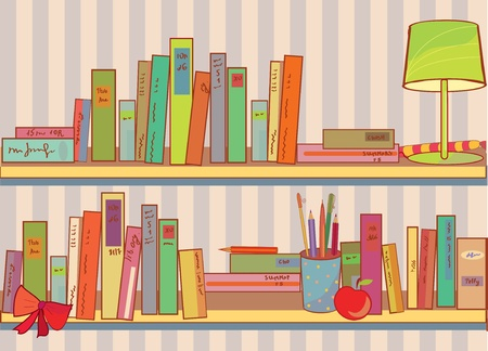 Shelves with books at home funny cartoon Vector
