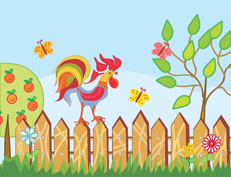 Border with rooster, trees and flowers in summer Vector