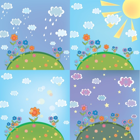 Landscape weather card set with nature elements Vector