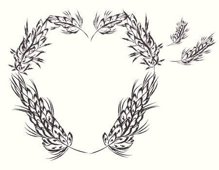 Heart with wheat design elements  Vector