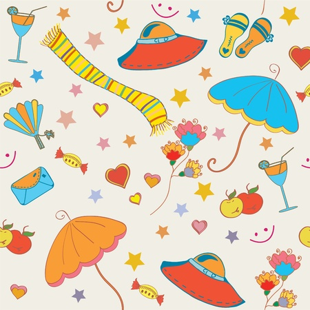 Summer objects seamless funny bright pattern Vector