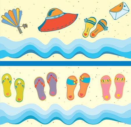 flipflop: Set of beach seamless borders funny cartoons Illustration