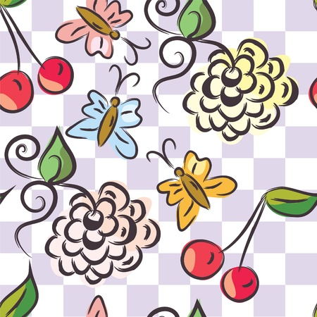 Checked floral seamless pattern cartoon Vector