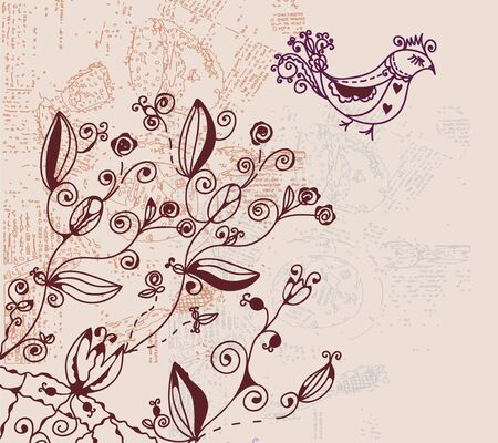 Floral invitation card with bird and texture Stock Vector - 9592114