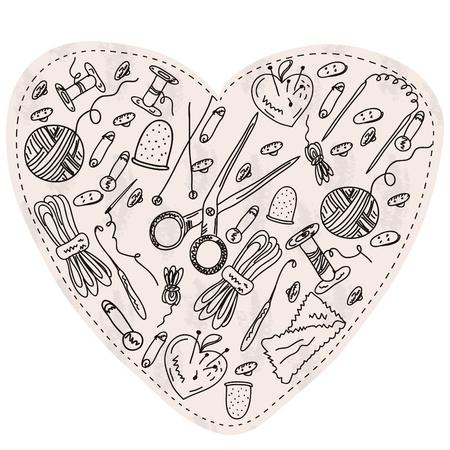 coser: Coraz�n con herramientas y elementos de costura y kniting