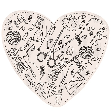 Heart with sewing and kniting items and tools  Vector