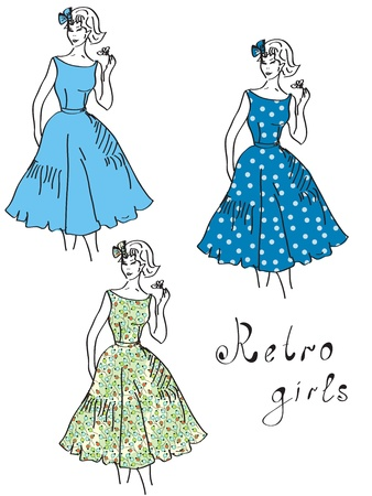 Vintage girls in floral dresses set Stock Vector - 9592108