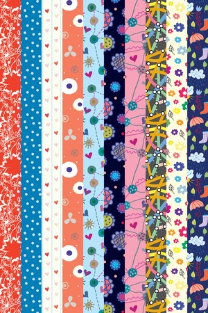 flore: Funny ribbons bright set cartoon