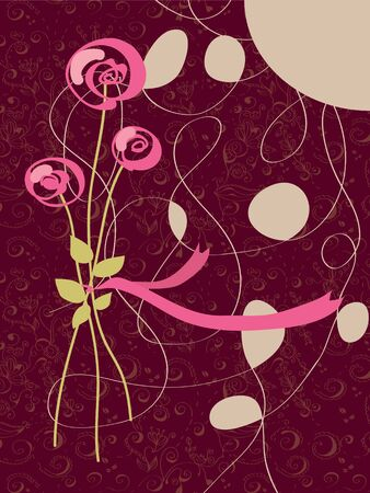 Invitation with rose and pattern card Vector