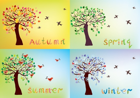 poires: Quatre cartes de saisons avec des noms d'arbres et les saisons