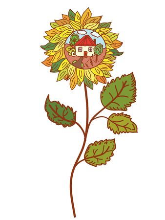 Sunflower with farm building symbol Vector