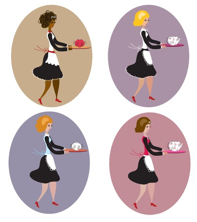 Set of vintage waitresses cartoon Vector