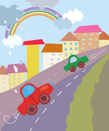 small town: Funny city cartoon with cars and rainbow