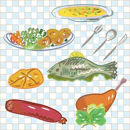 Dishes for dinner set  Vector