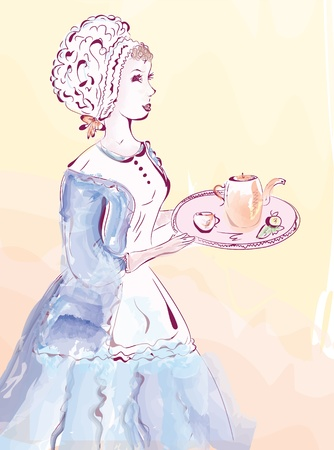 Vintage waitress watercolor card in pastel colors Vector