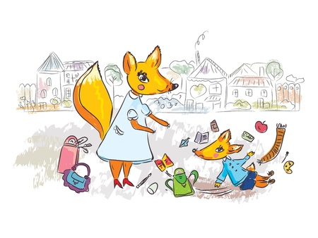 Family scene at the street with fox cartoon Vector