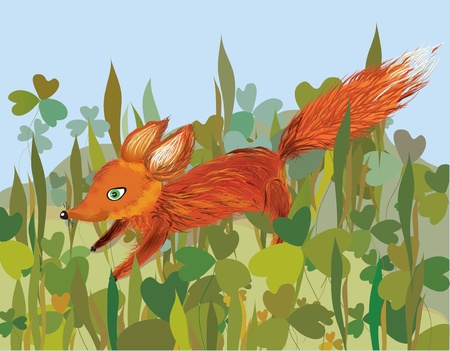 Fox in the grass funny cartoon Vector