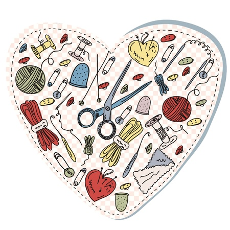 Sewing and knitting heart funny cartoon Vector