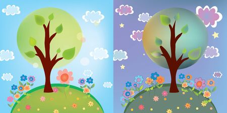 budding: Landscape with tree at day and night cartoon