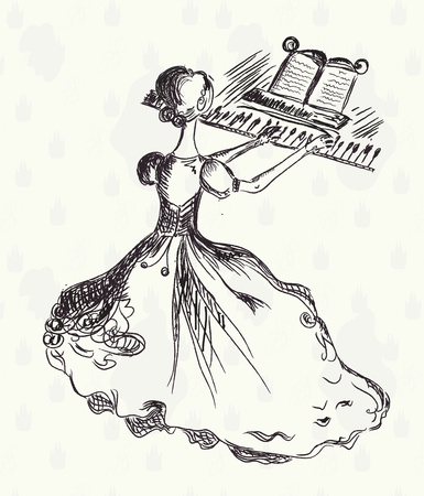 Woman playing piano retro sketch Vector