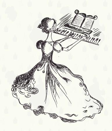 Woman playing piano retro sketch Vector
