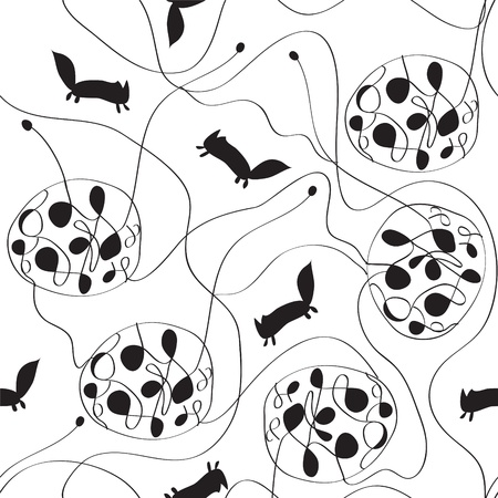 Abstract seamless pattern with silhouettes