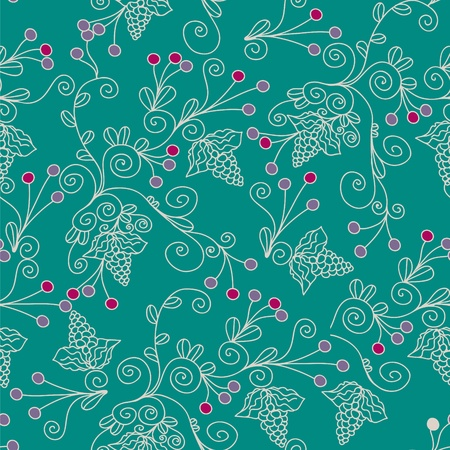 Floral ethnic seamless pattern with grape Vector