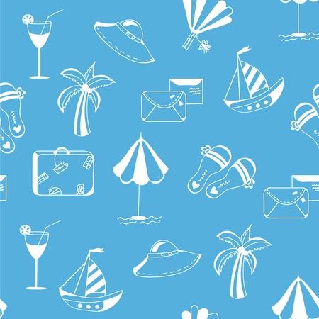 vacation summer: Sea travel seamless funny pattern cartoon