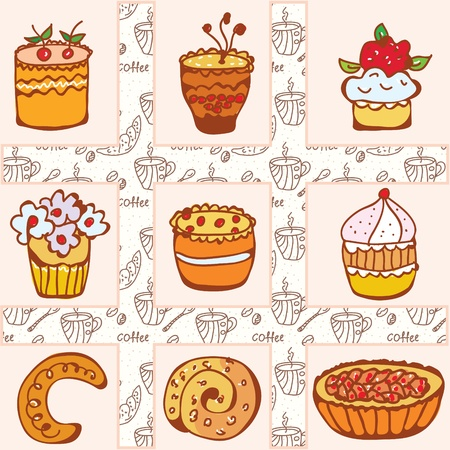 fancy pastry: Set of doodle cakes on the coffee background