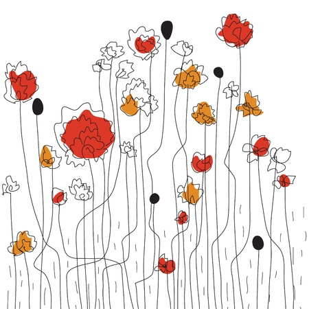 Floral border sketch with poppies Illustration