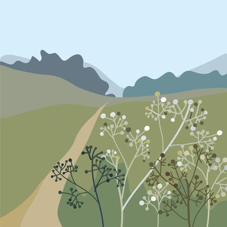 rural road: Landscape with grass and mountains Illustration