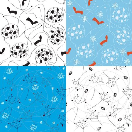 Winter abstract seamless pattern with nature elements Vector