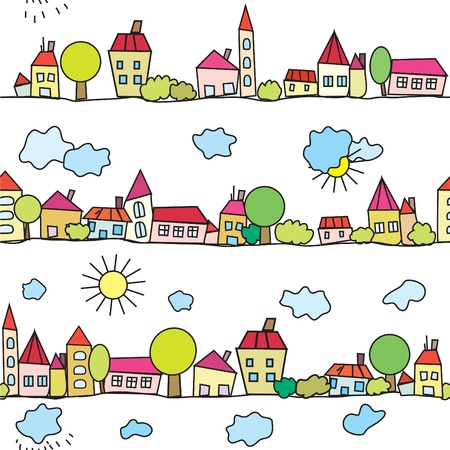 Town seamless funny pattern with weather