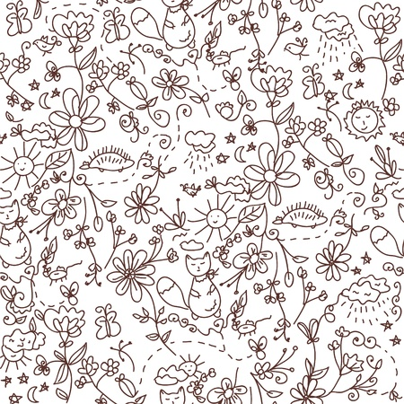 Nature seamless doodle funny pattern Vector