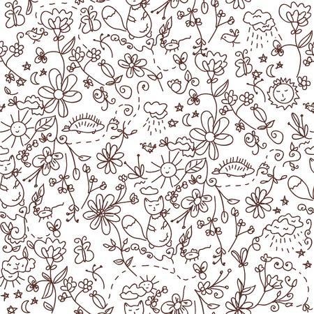 egel: Natuur naadloze doodle grappige patroon