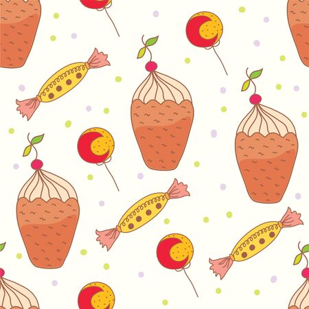 Seamless pattern with ice cream and sweets Stock Vector - 9886543