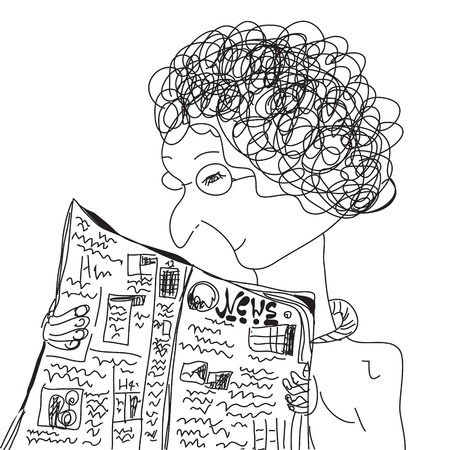 Old woman reading newspaper cartoon