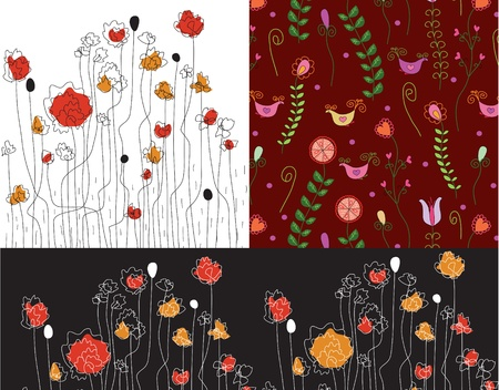 Set of banners with poppy patterns Vector