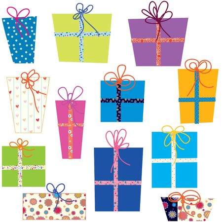 Presents set with funny bows Vector
