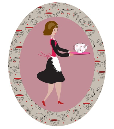 Retro waitress in the frame with pattern Vector