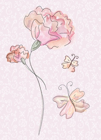 Greeting card with carnation in watercolor Illustration