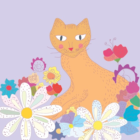 Funny greeting card with cat and flowers Vector