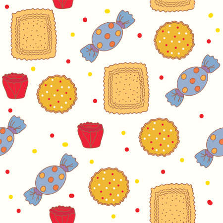 Seamless pattern with candies and cookies Vector