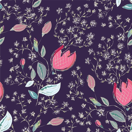 Seamless floral pattern with tulips ornate Vector