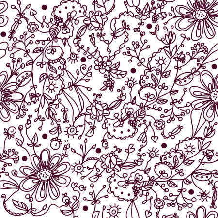 Hand drawn floral ornate wallpaper Vector