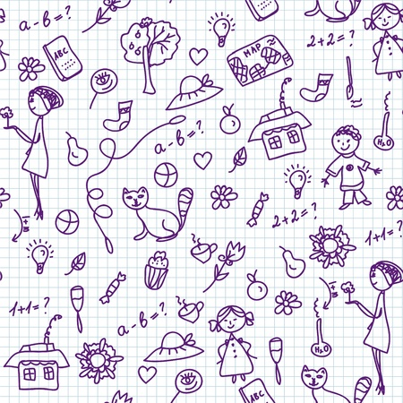 School doodle seamless pattern with children
