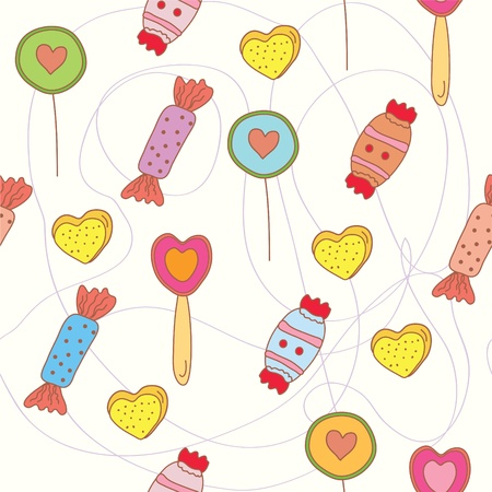 Sweets seamless funny pattern cartoon Vector