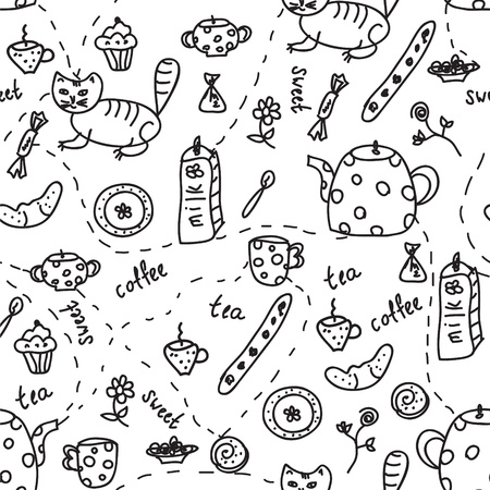 Tea and coffee doodle seamless pattern Vector