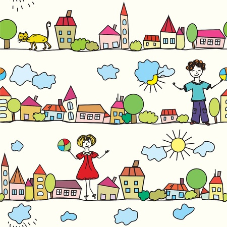 town modern home: Kids seamless pattern with houses and weather
